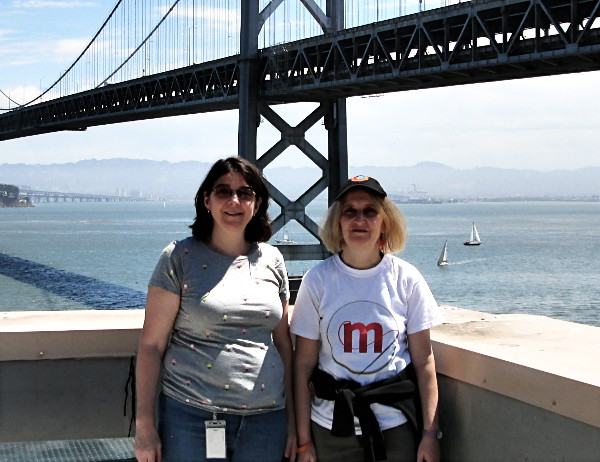 Gabriela Montagu with Marcia Knous on the rooftop of the San Francisco office.