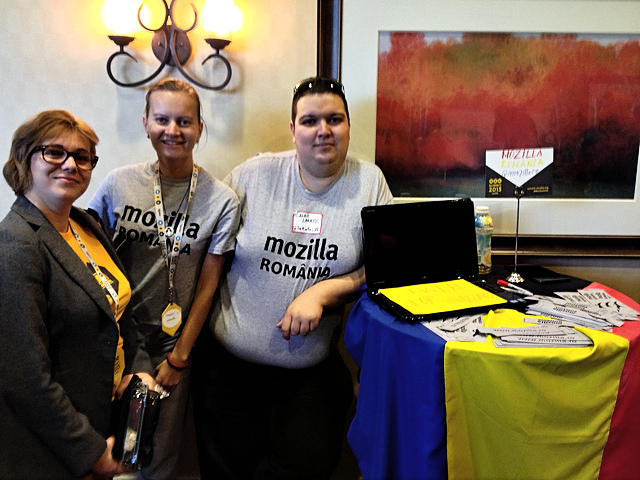 Marcela Oniga along with Alina Mierlus and Alex Lakatos at the Mozilla Romania booth during the World Fair, Mozilla Summit 2013.