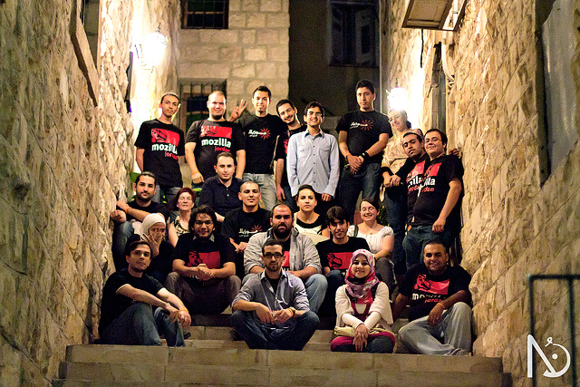 The Mozilla Arabic community with Chairperson Mitchell Baker at Jordan in June 2011.