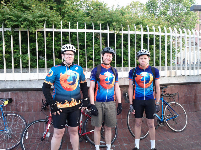 Mozillians cycle together on Bike To Work day in May 2011.