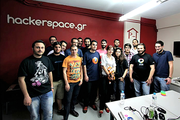 The first meet-up of the Mozilla Greece community at hackerspace.gr in April 2013.
