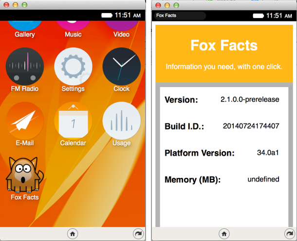 Screenshots of Fox Facts, a Firefox OS app written by Kate Glazko.