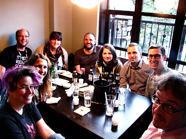 Kate Glazko with the Release Management team at the Mozilla Work Week in Whistler, June 2015.