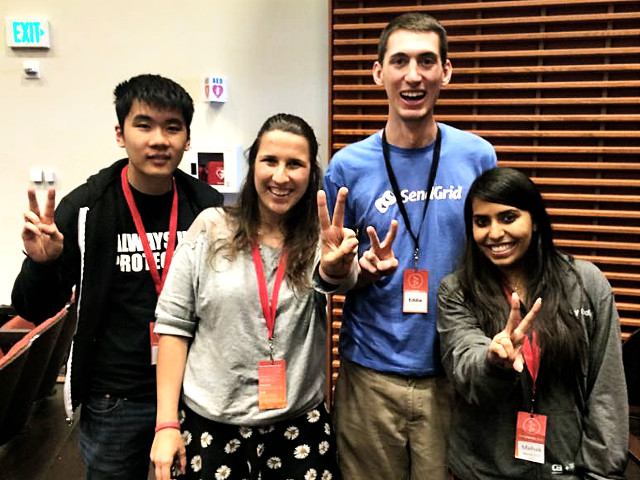 Kate Glazko, Akhilesh Saklecha and Roy Zheng won the 2015 U.S. SS12 Hackathon Championship with StealthFly, a mobile game playable by the visually impaired.
