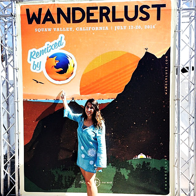 Kate Glazko as a volunteer at the Mozilla booth at Wanderlust Tahoe yoga and music festival held in Squaw Valley, California from July 17 - 20, 2014.