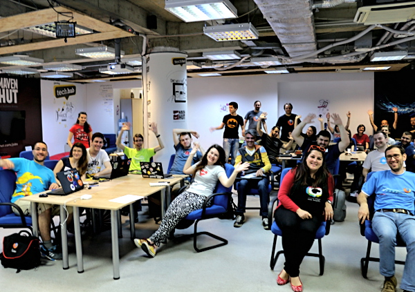 Members of the Serbian community at the Mozilla Balkans Community Meetup in May 2015 at Romania.