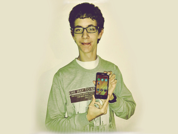 Xavier with his Firefox OS Flame device in February 2015 courtesy the Firefox OS Participation program.